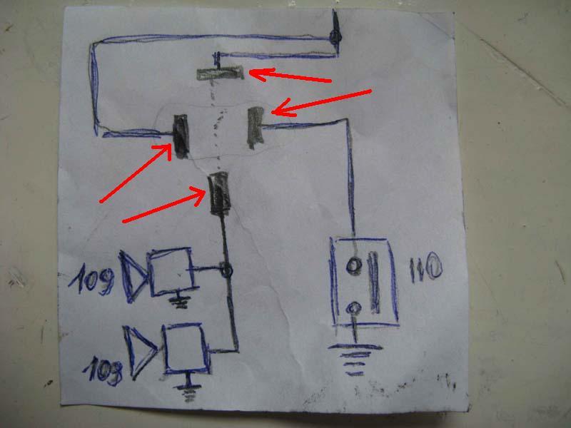 Схематично можно показать соединение проводов так (стрелками указаны ножки реле, 109 сигнал, 110 - кнопка сигнала на...
